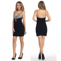 Wholesale Sexy Wear Bust Open - Sexy Cocktail Desses Spaghetti Straps Short Mini Sheath Party Gowns Beaded Bust Pleats 2016 Little Black Dresses Open Back