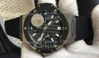 Wholesale Fiber Tags - Top Men's Sport Watches HBB V6 Factory Mens Automatic Chronograph Cal.4100 Watch Men Ceramic Bezel Rubber Sport Eta Fiber Dial Big Stopwatch