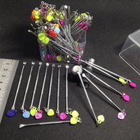 Wholesale Dry Cleaning Iron - Wax Dabber Tools Wax Containers Clean Tools eGo Tool iron Metal 80mm Dab Tool Jars Dab Wax Container Tools Dry Herb