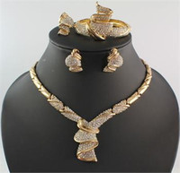 iki halkalı toptan satış-Afrika Takı Setleri Dubai Yüksek Kalite Rhinestone Kolye Bilezik Yüzük Küpe 18 K Altın Kaplama Parti Mücevher Seti