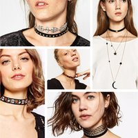 Atacado - Black Velvet Choker 2016 Rhinestone Necklace Tatto Crystal Statement Collar para Mulheres Fashion Leather Chain Gótico Neck Jewelry