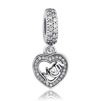 925 ale perle halskette großhandel-Original Charms Mom Love Dangle Pandora Charms 925 Ale Sterling Silber Lose Perlen Diy Schmuck Für Faden Halskette Armband Muttertag G
