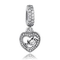 gümüş takılar toptan satış-Orijinal Charms Anne Aşk Dangle pandora charms 925 ale Gümüş Gevşek Boncuk Diy Takı Konu Kolye Bilezik anneler Günü Için G