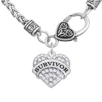 Wholesale Survivor Charms Wholesale - New Fashion Women Letter SURVIVOR Pendant Thick Necklaces Colorful Heart Necklaces Crystal Heart Lobster Clasp Link Chains Jewelry