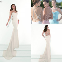 Wholesale Dress Tarik Ediz - 2016 New Sexy Tarik Ediz Mermaid Prom Dresses Jewel Neck Illusion Crystal Beads Pearl Sheer Back Long Party Pageant Evening Gown BA1229