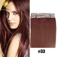 "Wholesale Strong Pu Weft Tape - 33# Dark auburn PU Skin Weft Hair Brazilian 20"" Strong Tape Adhesive Human Extensions 20pcs set skin hair weft"