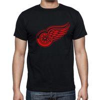 Wholesale Big Tall Men Shirts - Wholesale-New Detroit Red Wings T-shirt cotton Big & Tall Logo Fashion Wings Hockey Short Sleeve hip hop t shirt tshirt men Camisa S-2XL