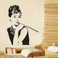 Wholesale Hepburn Wall Sticker - 2016 new AUDREY HEPBURN Silhouette Wall Vinyl Stickers Art Decal Reusable & Removable Decal Black free shipping