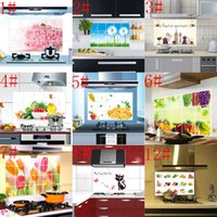 Wholesale Oilproof Sticker - hot sale High Quality Waterproof Oilproof Heat-resistant Fresh Landscape Tile Wall Sticker Kitchen Paster Free Shipping