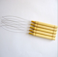 Wholesale Weaving Needles Wholesale - Wholesale-Curve Needle 20pcs pack Hair Weaving Extension Hook Needle Micro Loop Threader Hair Tools Wooden Handle Stainless Steel C Wire