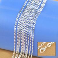collar argentino al por mayor-Collar de plata esterlina 925 joyería genuina de cadena sólida para las mujeres 16-30 pulgadas moda Curbwith langosta corchetes envío gratis
