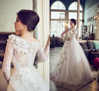 Wholesale Sleeve Shirt Photos - 2015 Lace Wedding Dresses with Long Sleeves Floor Length vestido de noiva Custom Made Bridal Gowns A Line Hand Made Flowers Wedding Dress