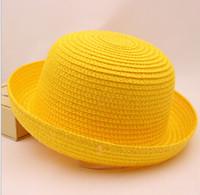 strohjunge hut kind großhandel-2015 Sommer Mädchen und Jungen Strohhut Kind Mützen Unisex Vintage Beach Summer Trilby Packable Crushable Stroh Kinder Sonnenhut 6 Farben