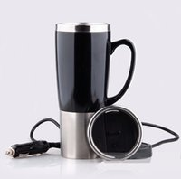 Wholesale Stainless Boiling Water - Wholesale-450ml Dual Layer Car Electric Cup Stainless Steel Auto electric cup boiling water heated car mug With charger to 100 degree