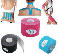 Wholesale elastic bandage tape - 18pcs New Arrive 5cm x 5m NEW Kinesiology Kinesio Roll Cotton Elastic Adhesive Muscle Sports Tape Bandage Physio Strain Injury Support