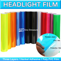 Wholesale Vehicle Decal Wraps - Glossy Car Headlight Tint Fog Tail light Vinyl Wrap Light Film Sticker Vehicle HeadLamp Protector Decal Sheet 0.3x10m 1x33Ft