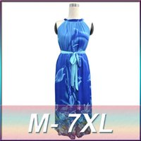 Wholesale Printed Jumpsuit Women - 2016 Summer New Round Neck Sleeveless Jumpsuit Dress Sexy Printed Bohemian Dress Large Size Women Plus Size M-7XL Free Shipping
