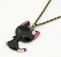 Wholesale Smile Cat Sweater - Lovely Cute Black Enamel Cat Smiling Animal Necklace Sweater Chain Pendant for Girl Female Gift Wholesale 12 Pcs