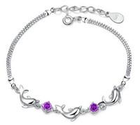 Wholesale Amethyst Fine Jewelry - Fine Jewelry Dolphins Amethyst Bracelet 30% 925 Sterling Silver AAA+ Austrian Zircon Crystal Purple White Bracelets