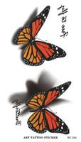 Wholesale Tattoo Designs Hand Butterfly - Waterproof 3d Tattoo Sticker Butterfly Letter Design Temporary Tattoo Foil Decal Fashion Body Art Flash Fake Tattoo Sticker