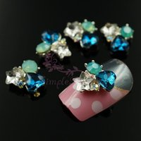 Gros-20PCS / LOT Blue Heart Étoile clair Opal Pierres de Strass Métal Nail Art Alloy Charms Bijoux Artisanats 3D bricolage design Décorations