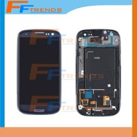 Wholesale S3 Replacement Frame - Original LCD Assembly Display Touch Screen+Digitizer with Frame Replacement For Samsung Galaxy S3 i9300 i747 i535 White Free Shipping
