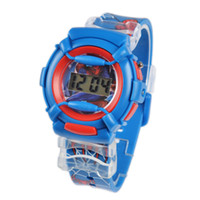 Wholesale Spiderman Wristwatch - Hot Sell Blue 3D Cartoon Spiderman Silicone Watch Children Kids Boys Students Sports Digital Quartz Wristwatches Christmas Gift