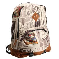 Wholesale Men Newspaper Backpack - Wholesale-New Unisex Newspaper Print Canvas Backpack School Bag Satchel Travel Tote FCI#