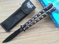 Wholesale Fine Finishing - Black BM BM42 Balisong butterfly knife Satin Black Finish Fine edge 42 BK32 BM49 EDC camping knife survival knife knives w  nylon pouch