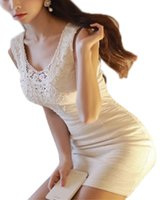 Wholesale Bandage Xxs - Fitted Size XXS XS S M L Women Embroidery Crochet Dress Sleeveless Bandage Bodycon Mini Dresses Black and White Slim Vestidos