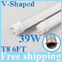 Wholesale Refrigerator Tube - 39W 6ft(feets) Cooler Door V-Shaped Dual Row T8 G13 Led Tubes Lights 4200lm Cool White For Refrigerator Display Case AC 85-277V + UL cUL