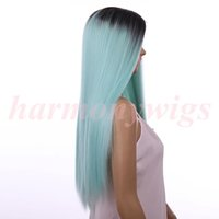 Wholesale Wig Chocolate - Synthetic Lace Front Wigs 20inch ombre color chocolate Black& Mint Green Straight Heat Resistant Hair wigs Popular