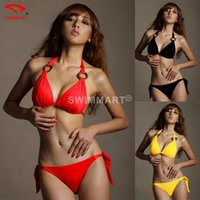 Wholesale Sexy Yellow Triangle Bikini Swimsuit - 2016 HOT Women Sexy Mesh Swimwear, Poly chest Triangle Swimwear Bikinis Set, Push Up Padded Beachwear Bathing Swimsuit