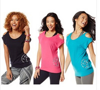 Wholesale Women S Dance Shirts - woman Yoga dance tops Right to bare arm tee Women's T-Shirt pink blue black