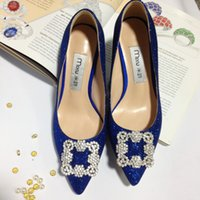 Barato Saltos Negros De Azul Royal-2018 Red / Black / Royal Blue Bridal Shoes Rhinestones Beading Crystal Wedding Shoes Mulheres Shoes Pointed Toe High Heels