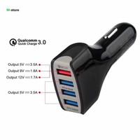 caixa 35w venda por atacado-Qualcomm Certified QC3.0 Quick Charge Adaptive 4 Porto USB Fast Car Charger 35W Com Retail Box