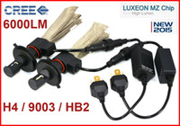 Wholesale Xenon 1157 Bulb - 1 Set H4 9003 HB2 40W 6000LM CREE LED Headlight LUXEON MZ CHIP High Low Beam Xenon White 6500K 12 24V Copper Belt H13 9004   9007 LED Kit