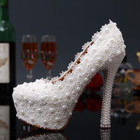 Chaussures t tendre talons Avis-Sweet White FlowersLlace Chaussures de mariage Pearl Bride Wedding Dress Chaussures Lady Party Prom Shoes Chaussures à talons hauts