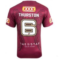 Vendite calde 2017 NRL National Rugby League Australia Queensland QLD Maroons Rugby maglia magliette Johnathan THURSTON 6 maglie