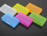 ingrosso custodia in plastica per batteria-Custodia portatile 18650 Custodia per batteria Custodia acrilica per custodia Cassetta di sicurezza in plastica colorata per batteria 18650 e batteria 16340 (6 colori)