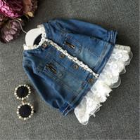 Wholesale Coat Cardigan Denim - Hug me Children Denim Lace Jacket Girls Coat 2016 New Autumn Fashion Zip Cardigan for Kids Clothing Outerwear ZZ-1161