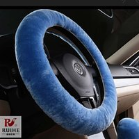 Wholesale Wool Steering Wheel Cover - 2016 breathable DIY car classic steering cover soft and warm braid wool on wheel Wool cover for suede steering wheel sport type