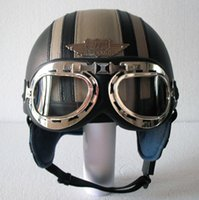 Wholesale Leather Covered Helmets Motorcycle - Wholesale-14 Colours ! HOT Leather Covered Motorcycle Helmet Open Face Scooter Casco Half Helmet & UV Goggles Adult S M L XL