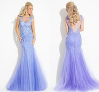 Wholesale Design Back Wedding Dress - Elegant New Design Evening Dresses Mermaid Floor Length Sheer Neck Illusion Back Applique Lace Draped Tulle Wedding Party Gown Celebrity WWL