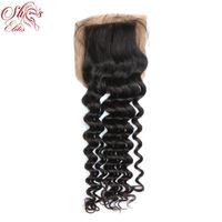 Wholesale Elite Natural Human Hair - Free Part Brazilian Human Hair Silk Base Closures Bleached Knots Unprocessed Hair Elites Hair Products Free Shipping