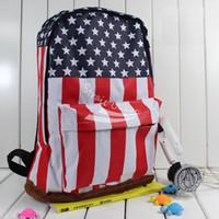Wholesale Canvas Shoulder Bag Men Uk - 2015 New Style Fashion Unisex Canvas Punk Shoulder Bag School Campus Bag Backpack UK US Flag Free Shipping 5691