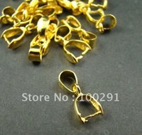 Wholesale Pinch Bail Plates - Free ship!!!16x6mm Gold Plated Tone Pinch Bails Pendant Clasps jewelry findings accessories