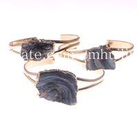 Wholesale Raw Rocks - Freeform Natural Druzy Beads Bangle Random Color Agate Geode Mineral Rock Stone Charm Gold Plated Bracelet Raw Quartz Crystal Cuff Bangle