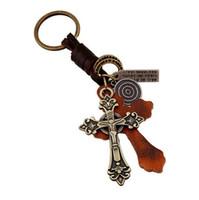 Wholesale Bag Mens Cowhide - Mens Perfect Leather Key Chains Alloy Cross Pendant Keychains Vintage Cowhide Braid Key Rings Fashion Bag Accessories Y125