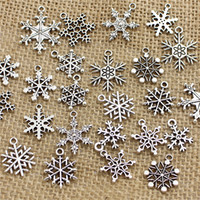 Wholesale Mixed Snow Charms ndants Beads Metal Alloy Pandent Plated Antique silver Christmas charm Diy T0467
